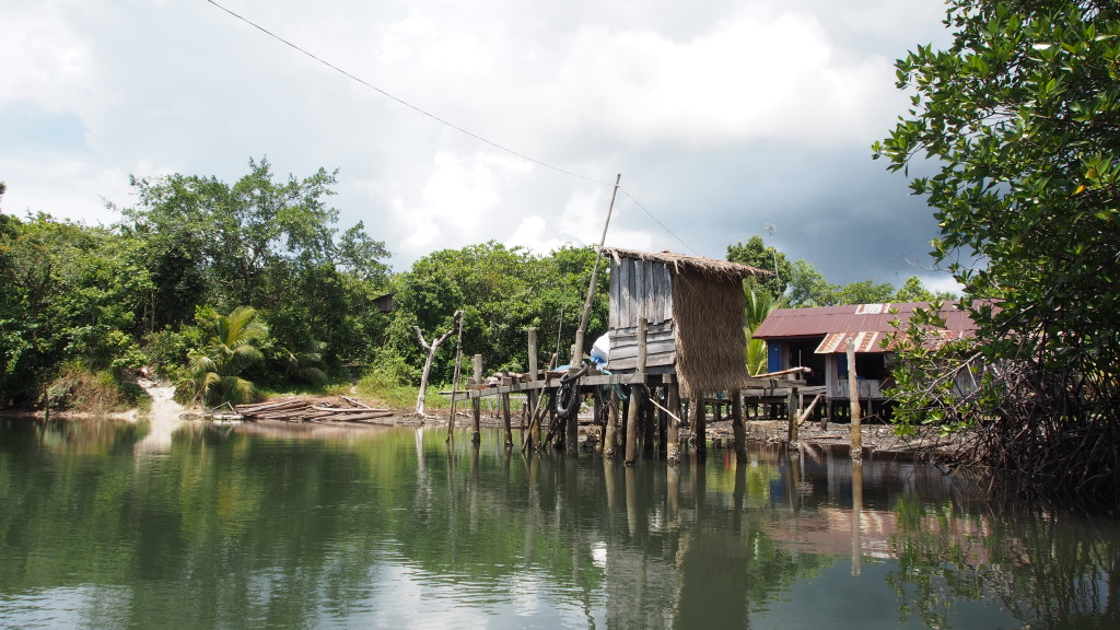 Floating toilet in Cambodia - all waste just falls into the river.  Not ideal swimming water...