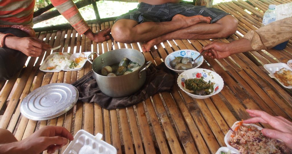 The local farmer cooked us some boiled eggplant in a broth with really chilly spice paste - so good!
