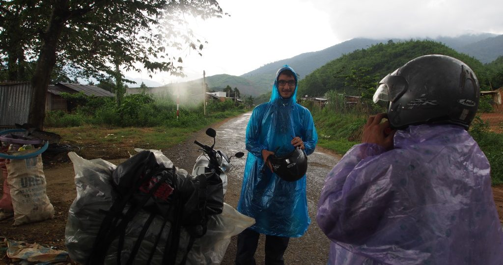 Then the rain started.  We stopped by the side of the road to get our wet weather gear on.