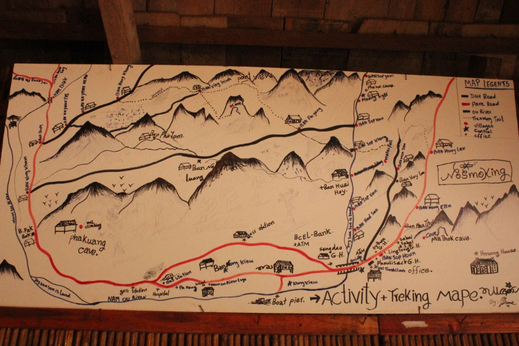 A map of the area around Nong Khiaw.  We were driven to our starting point, hiked for three days and then took a boat back to the town.