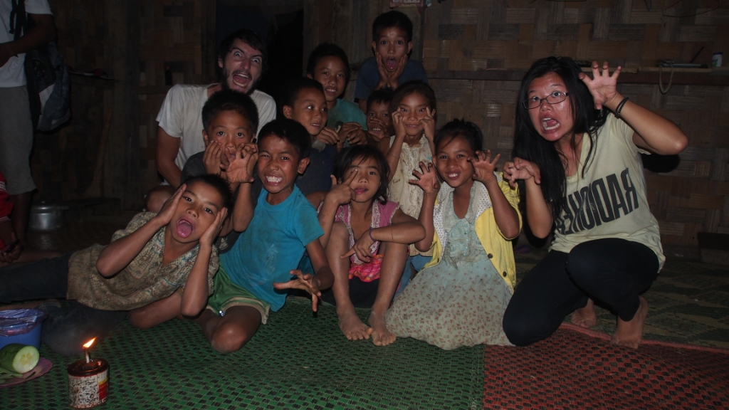These kids slowly crept into our dark house/room before our dinner.  They were just watching us relaxing before we encouraged them to pull some faces and have some fun.