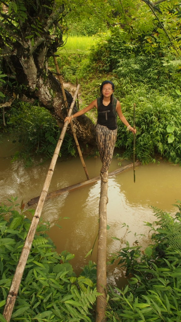 Crossing a bamboo bridge; this was probably the easiest crossing!