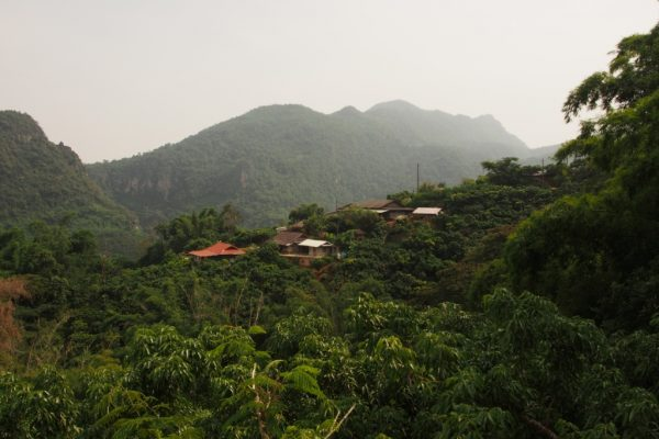 A village edged into the hills near the Thai-Myanmar border