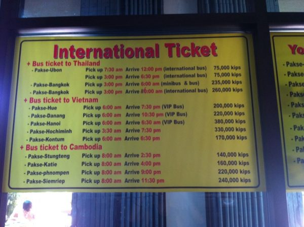 Bus Prices at Nangnoi