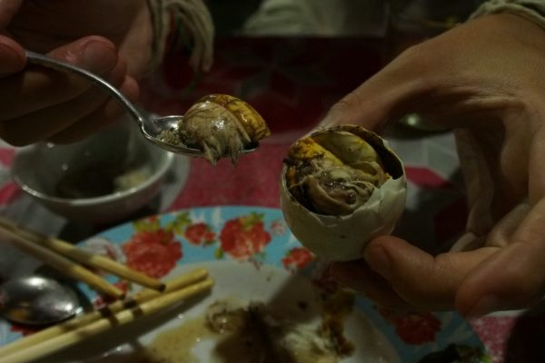 If we didn't go traveling, Lionel would never have had the chance to eat a Balut, a chicken foetus egg. Complete with beak and feathers!