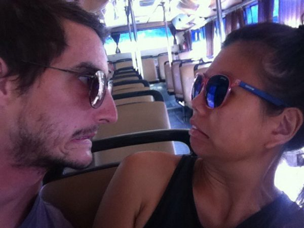 Lionel terrorising a local on the bus in Bangkok