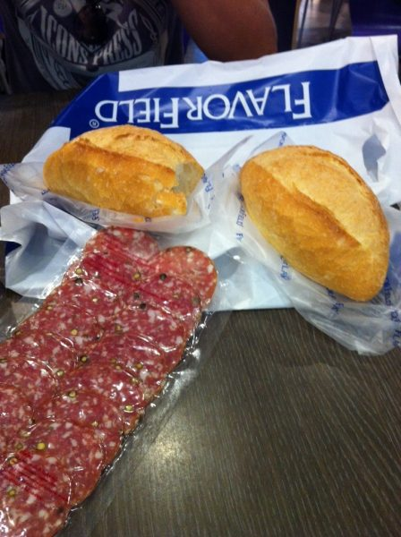 Lunching on 14 baht bread and 100 baht salami.